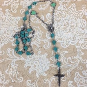 Rosary Style Teal Fashion Necklace